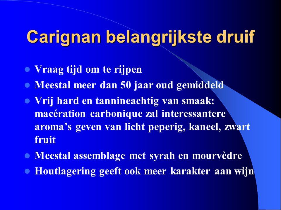 Carignan belangrijkste druif Vraag tijd om te rijpen Meestal meer dan 50 jaar oud gemiddeld Vrij hard en tannineachtig van smaak: macération carboniqu