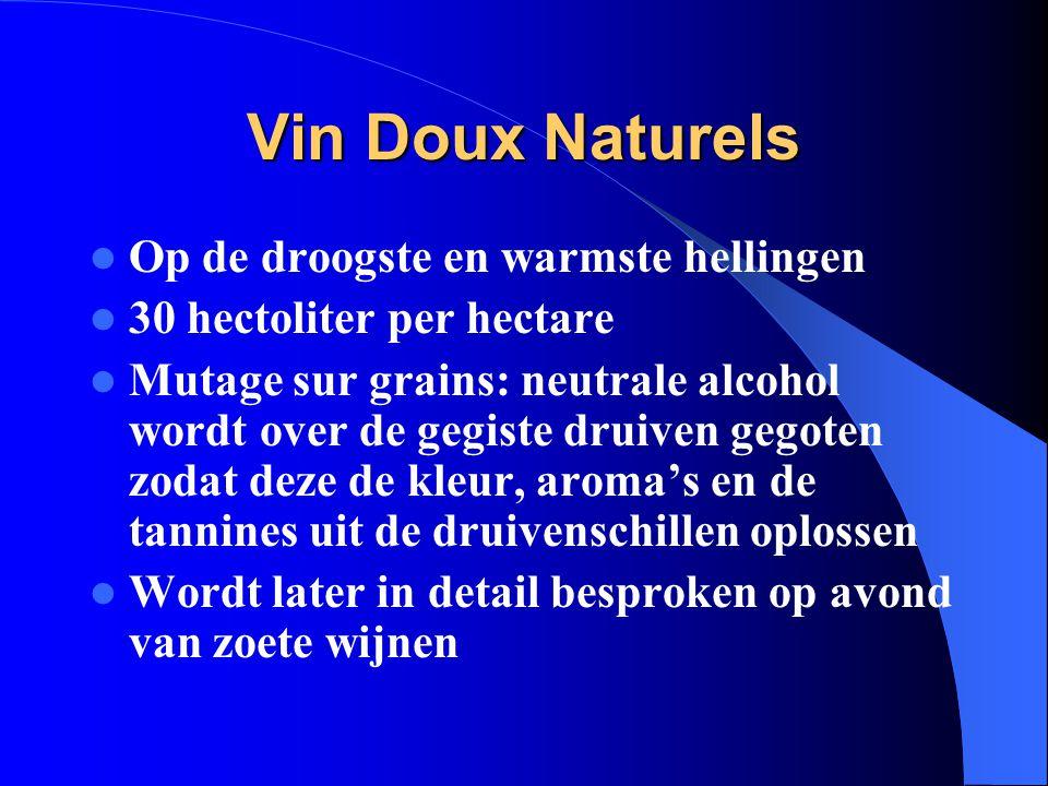 Vin Doux Naturels Op de droogste en warmste hellingen 30 hectoliter per hectare Mutage sur grains: neutrale alcohol wordt over de gegiste druiven gego