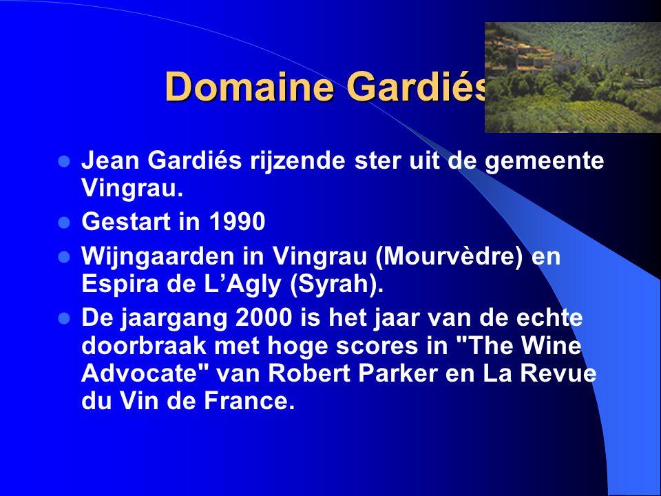 Domaine Gardiés Jean Gardiés rijzende ster uit de gemeente Vingrau. Gestart in 1990 Wijngaarden in Vingrau (Mourvèdre) en Espira de L'Agly (Syrah). De
