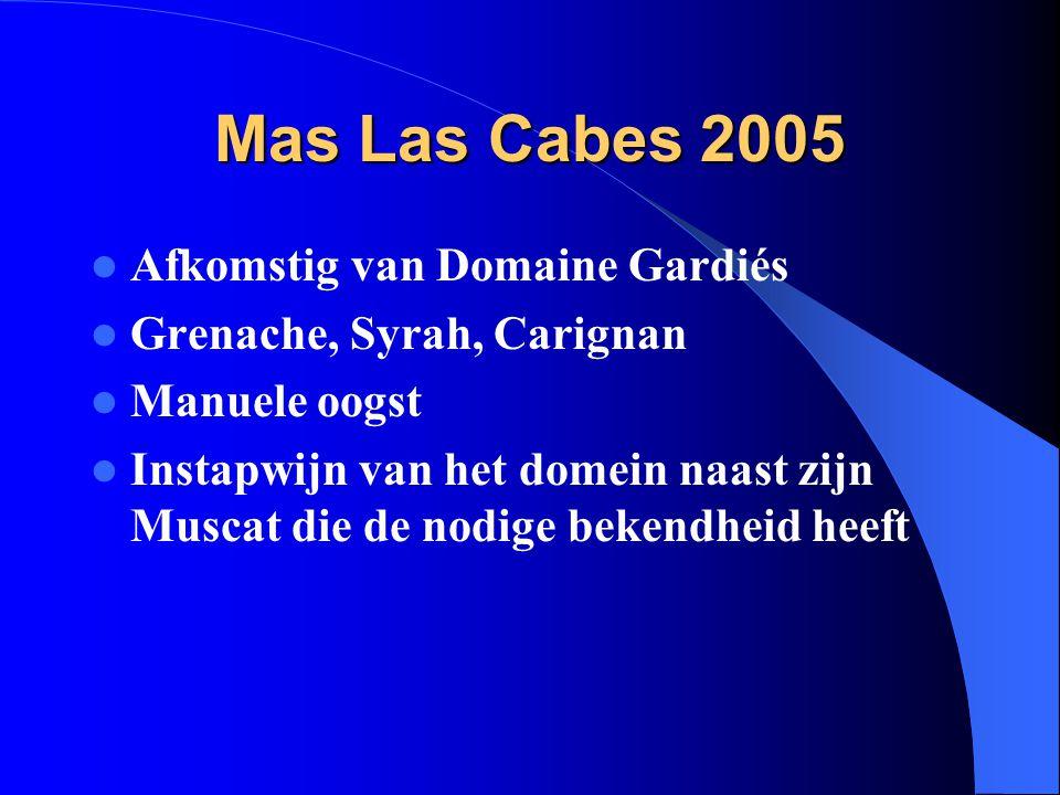 Mas Las Cabes 2005 Afkomstig van Domaine Gardiés Grenache, Syrah, Carignan Manuele oogst Instapwijn van het domein naast zijn Muscat die de nodige bek