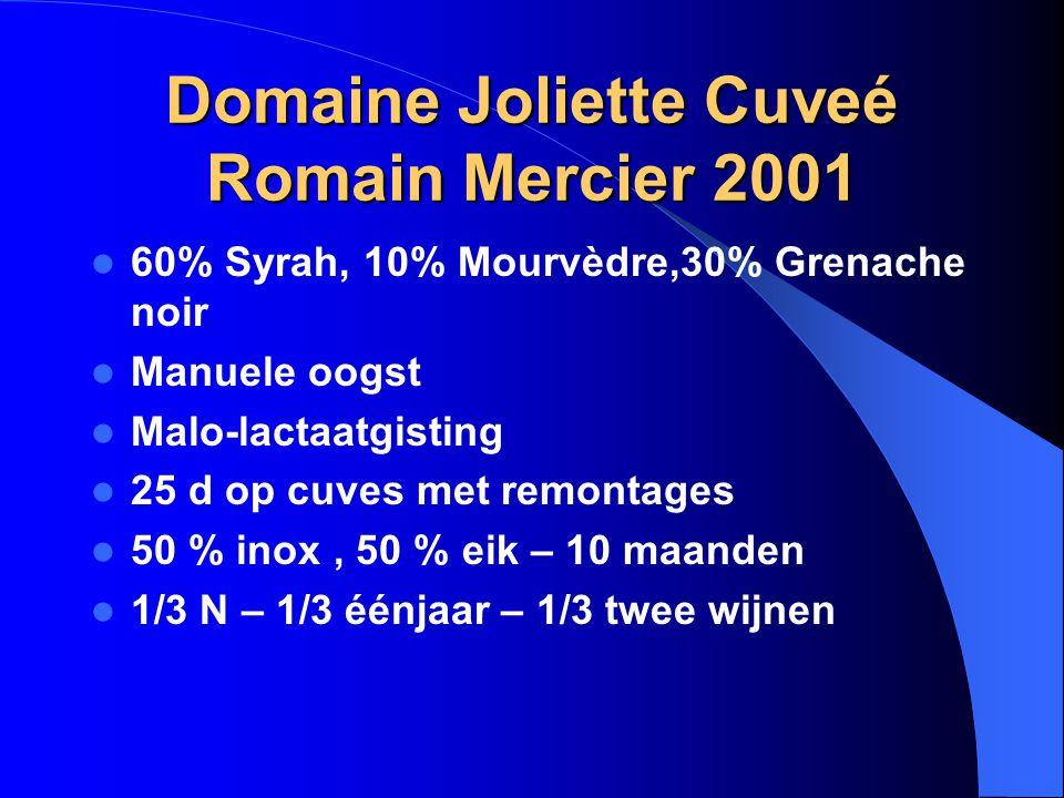 Domaine Joliette Cuveé Romain Mercier 2001 60% Syrah, 10% Mourvèdre,30% Grenache noir Manuele oogst Malo-lactaatgisting 25 d op cuves met remontages 5
