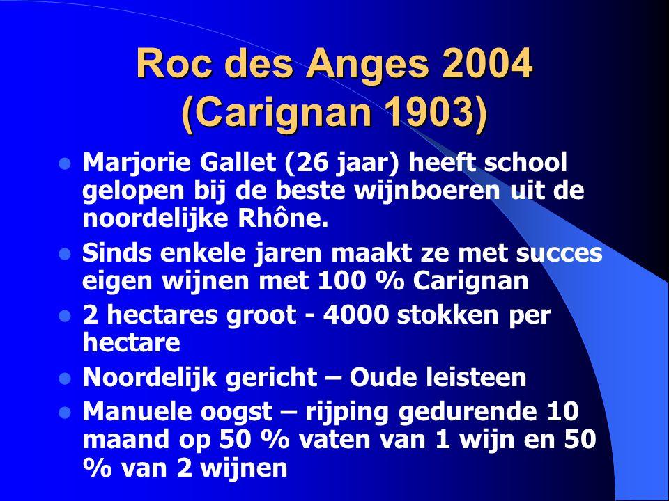 Roc des Anges 2004 (Carignan 1903) Marjorie Gallet (26 jaar) heeft school gelopen bij de beste wijnboeren uit de noordelijke Rhône. Sinds enkele jaren