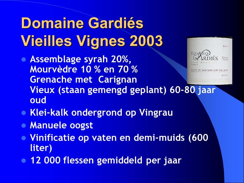 Domaine Gardiés Vieilles Vignes 2003 Assemblage syrah 20%, Mourvèdre 10 % en 70 % Grenache met Carignan Vieux (staan gemengd geplant) 60-80 jaar oud K