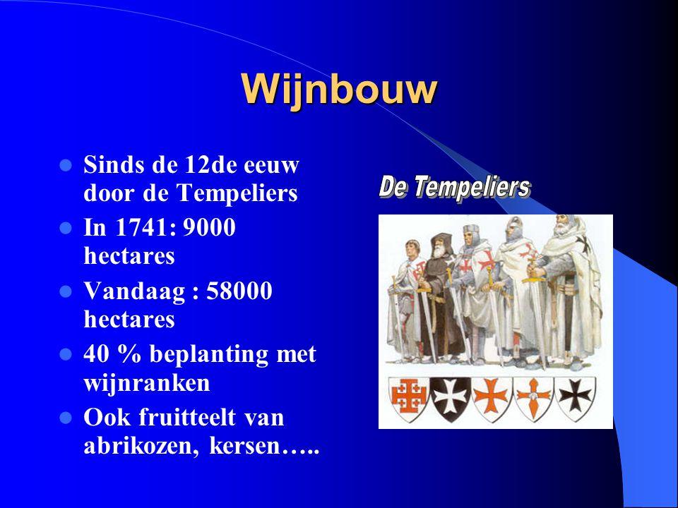 Wijnbouw Sinds de 12de eeuw door de Tempeliers In 1741: 9000 hectares Vandaag : 58000 hectares 40 % beplanting met wijnranken Ook fruitteelt van abrik
