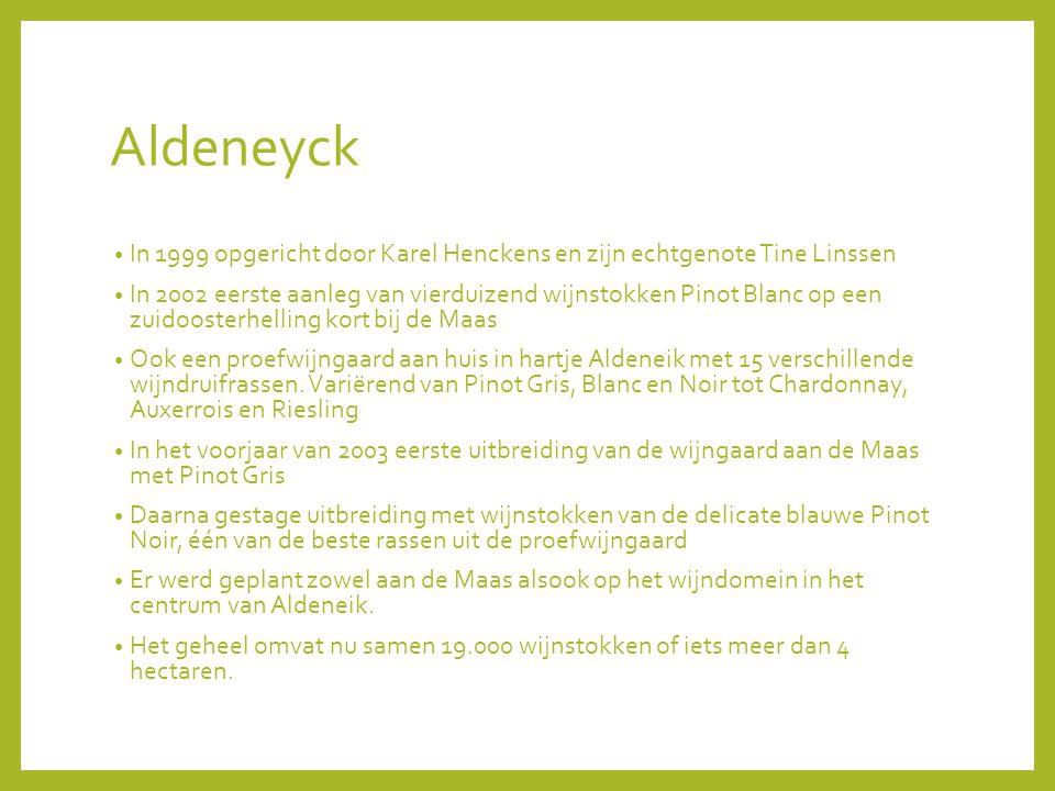 Aldeneyck In 1999 opgericht door Karel Henckens en zijn echtgenote Tine Linssen In 2002 eerste aanleg van vierduizend wijnstokken Pinot Blanc op een zuidoosterhelling kort bij de Maas Ook een proefwijngaard aan huis in hartje Aldeneik met 15 verschillende wijndruifrassen.