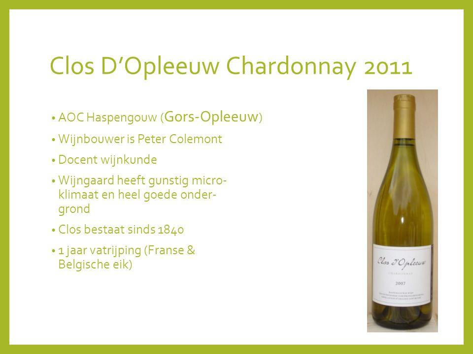 Clos D'Opleeuw Chardonnay 2011 AOC Haspengouw ( Gors-Opleeuw ) Wijnbouwer is Peter Colemont Docent wijnkunde Wijngaard heeft gunstig micro- klimaat en heel goede onder- grond Clos bestaat sinds 1840 1 jaar vatrijping (Franse & Belgische eik)