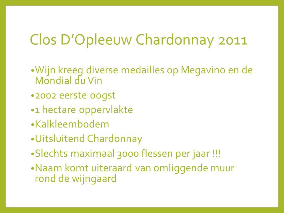 Clos D'Opleeuw Chardonnay 2011 Wijn kreeg diverse medailles op Megavino en de Mondial du Vin 2002 eerste oogst 1 hectare oppervlakte Kalkleembodem Uitsluitend Chardonnay Slechts maximaal 3000 flessen per jaar !!.
