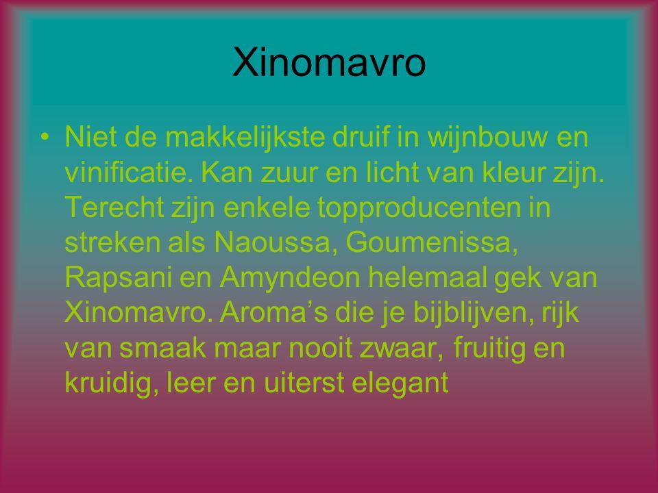 Xinomavro Niet de makkelijkste druif in wijnbouw en vinificatie.
