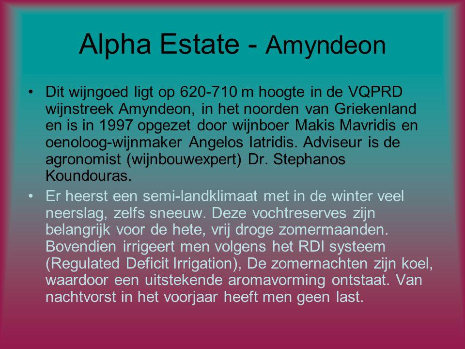 Alpha Estate - Amyndeon Dit wijngoed ligt op 620-710 m hoogte in de VQPRD wijnstreek Amyndeon, in het noorden van Griekenland en is in 1997 opgezet door wijnboer Makis Mavridis en oenoloog-wijnmaker Angelos Iatridis.