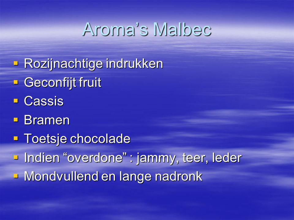 """Aroma's Malbec  Rozijnachtige indrukken  Geconfijt fruit  Cassis  Bramen  Toetsje chocolade  Indien """"overdone"""" : jammy, teer, leder  Mondvullen"""