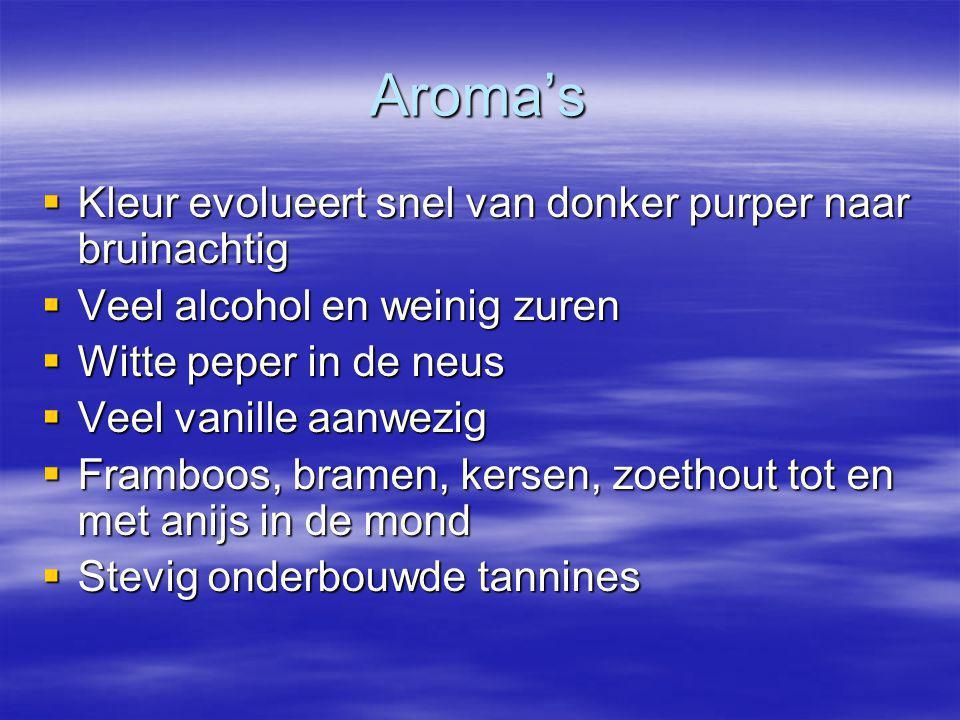 Aroma's  Kleur evolueert snel van donker purper naar bruinachtig  Veel alcohol en weinig zuren  Witte peper in de neus  Veel vanille aanwezig  Fr