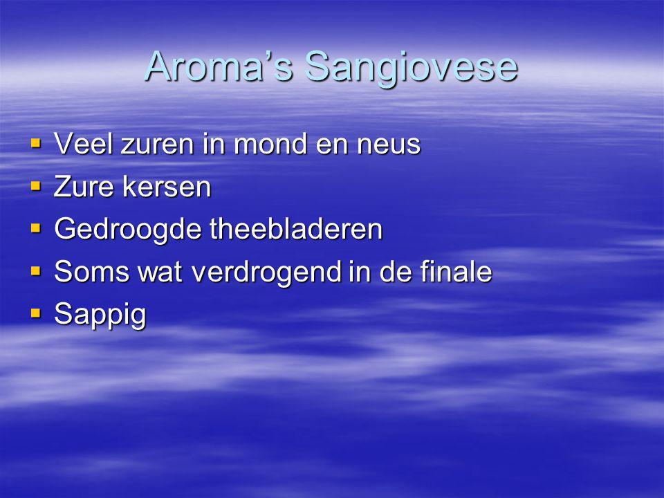Aroma's Sangiovese  Veel zuren in mond en neus  Zure kersen  Gedroogde theebladeren  Soms wat verdrogend in de finale  Sappig