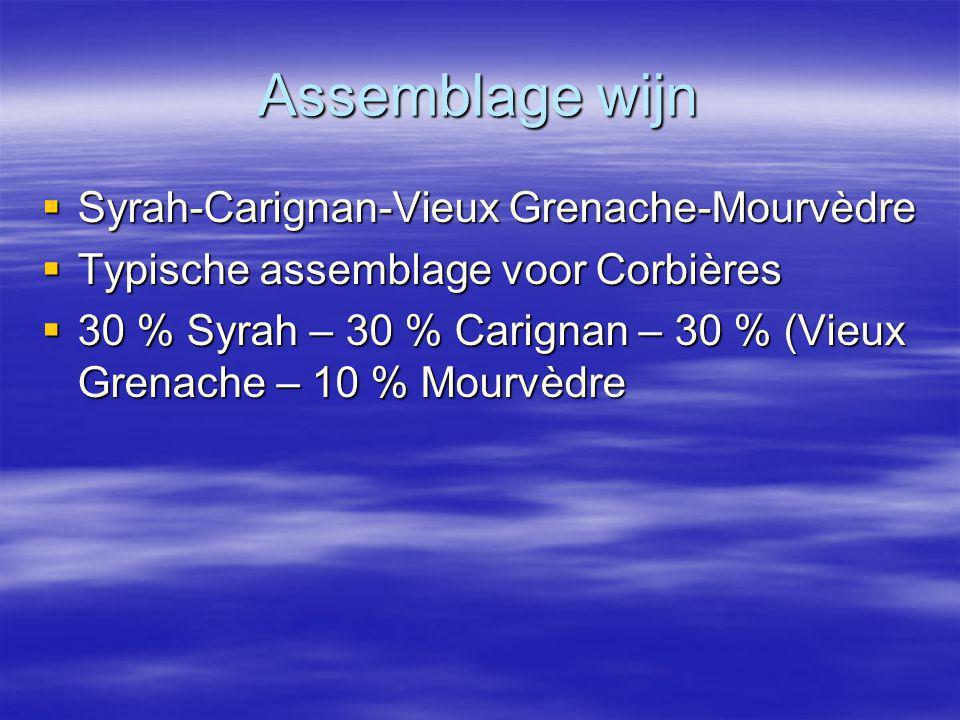 Assemblage wijn  Syrah-Carignan-Vieux Grenache-Mourvèdre  Typische assemblage voor Corbières  30 % Syrah – 30 % Carignan – 30 % (Vieux Grenache – 10 % Mourvèdre