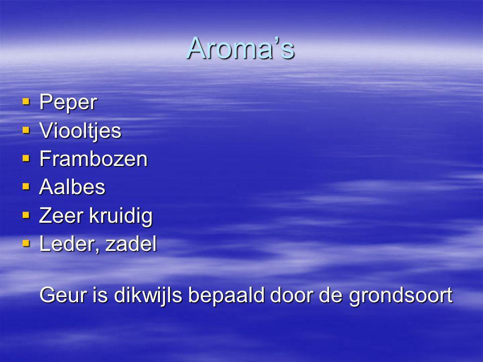 Aroma's  Peper  Viooltjes  Frambozen  Aalbes  Zeer kruidig  Leder, zadel Geur is dikwijls bepaald door de grondsoort