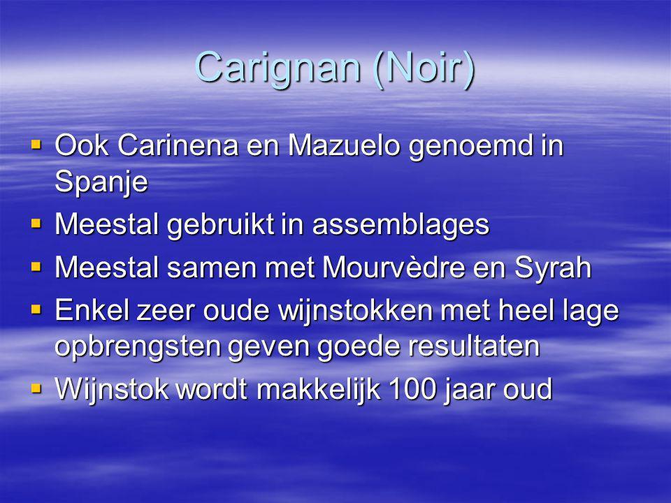 Carignan (Noir)  Ook Carinena en Mazuelo genoemd in Spanje  Meestal gebruikt in assemblages  Meestal samen met Mourvèdre en Syrah  Enkel zeer oude