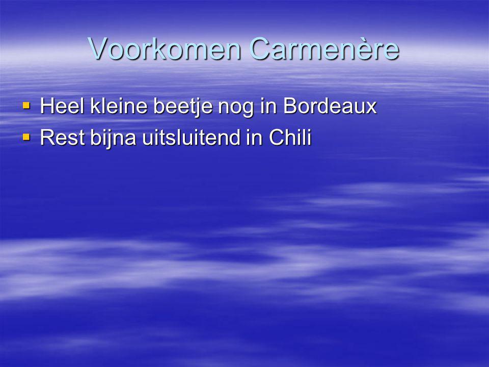 Voorkomen Carmenère  Heel kleine beetje nog in Bordeaux  Rest bijna uitsluitend in Chili
