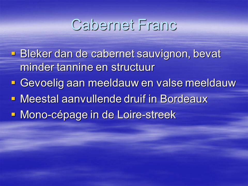 Cabernet Franc  Bleker dan de cabernet sauvignon, bevat minder tannine en structuur  Gevoelig aan meeldauw en valse meeldauw  Meestal aanvullende druif in Bordeaux  Mono-cépage in de Loire-streek