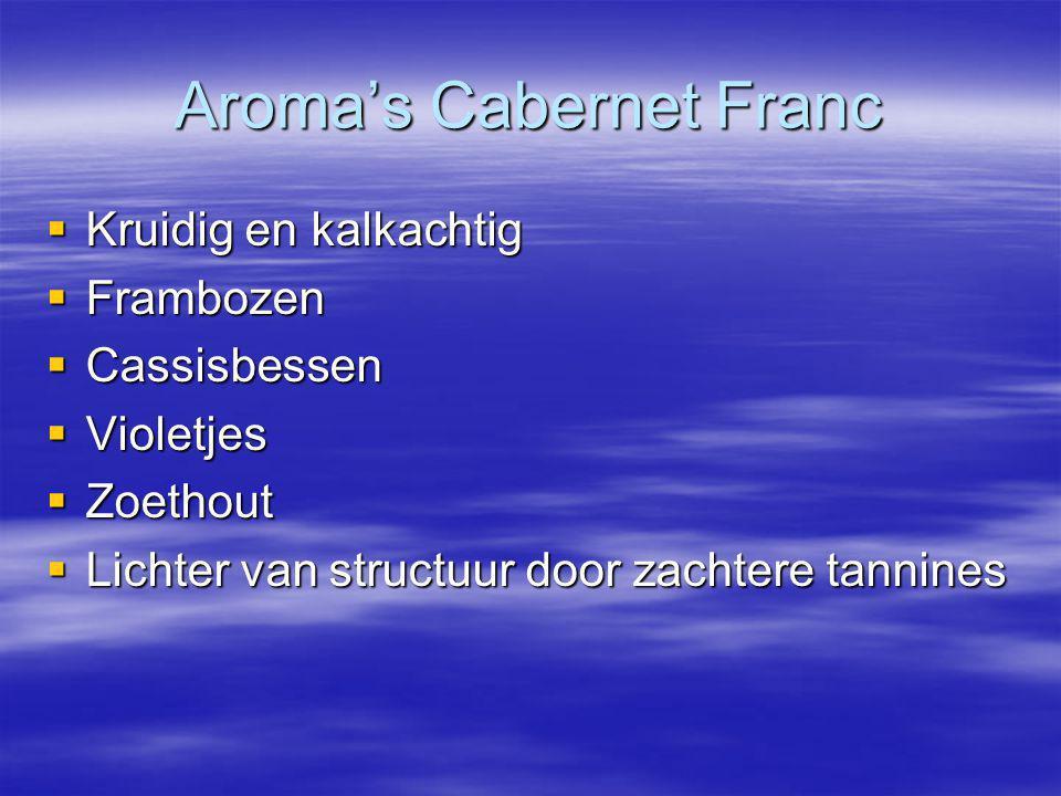 Aroma's Cabernet Franc  Kruidig en kalkachtig  Frambozen  Cassisbessen  Violetjes  Zoethout  Lichter van structuur door zachtere tannines