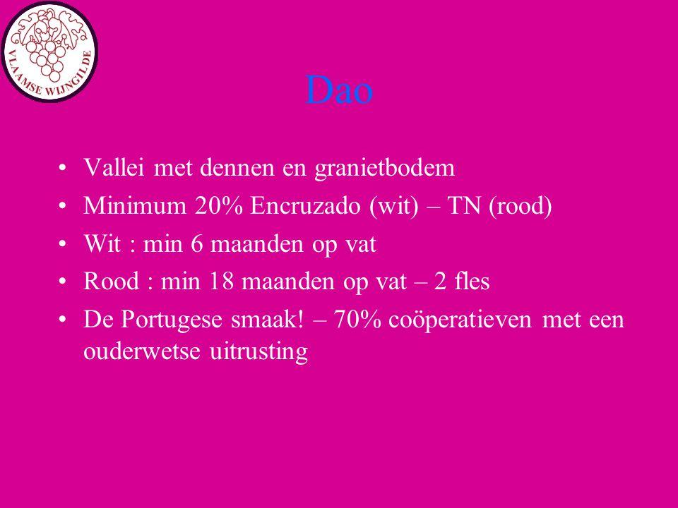 Dao Vallei met dennen en granietbodem Minimum 20% Encruzado (wit) – TN (rood) Wit : min 6 maanden op vat Rood : min 18 maanden op vat – 2 fles De Port