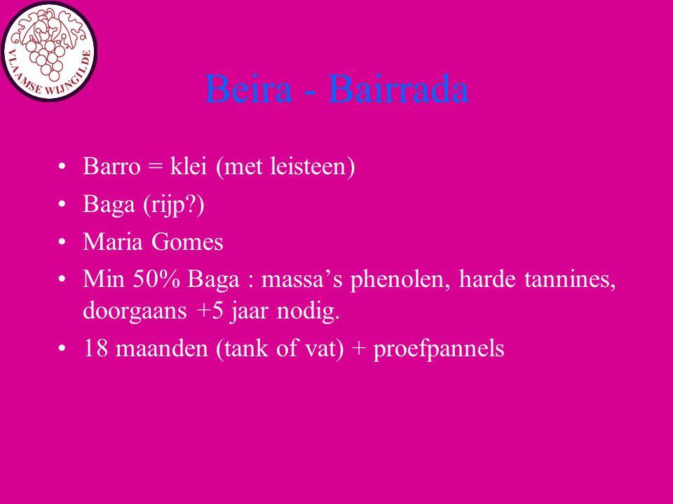 Beira - Bairrada Barro = klei (met leisteen) Baga (rijp?) Maria Gomes Min 50% Baga : massa's phenolen, harde tannines, doorgaans +5 jaar nodig. 18 maa