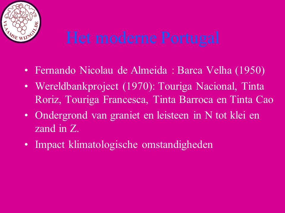 Het moderne Portugal Fernando Nicolau de Almeida : Barca Velha (1950) Wereldbankproject (1970): Touriga Nacional, Tinta Roriz, Touriga Francesca, Tint