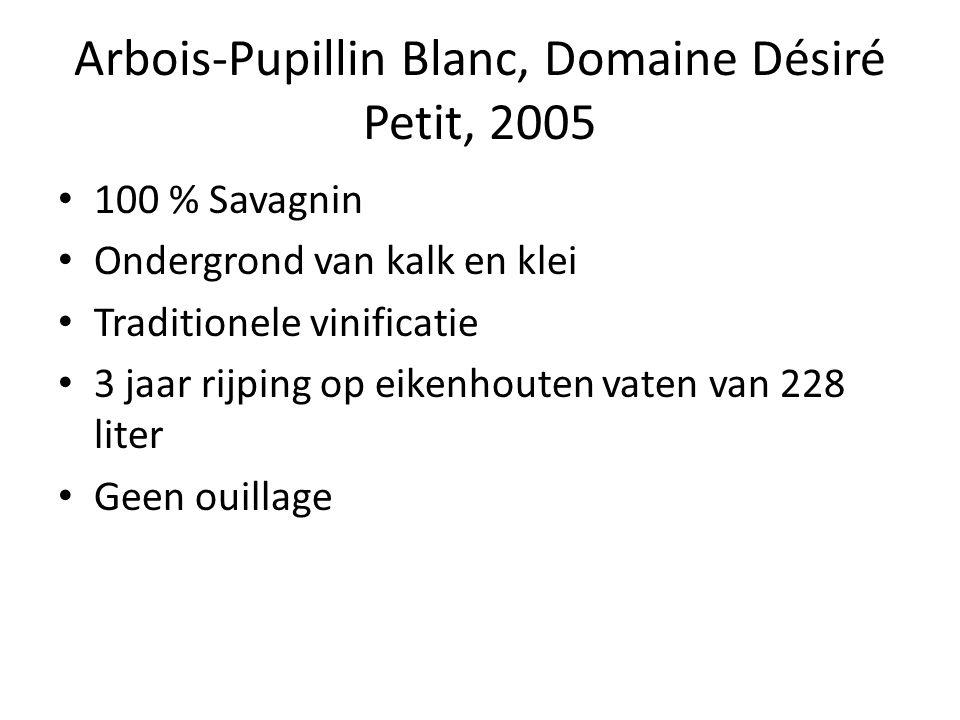 Arbois-Pupillin Blanc, Domaine Désiré Petit, 2005 100 % Savagnin Ondergrond van kalk en klei Traditionele vinificatie 3 jaar rijping op eikenhouten vaten van 228 liter Geen ouillage