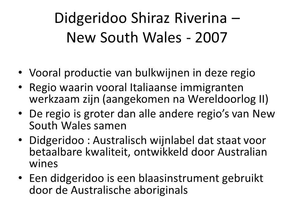 Didgeridoo Shiraz Riverina – New South Wales - 2007 Vooral productie van bulkwijnen in deze regio Regio waarin vooral Italiaanse immigranten werkzaam zijn (aangekomen na Wereldoorlog II) De regio is groter dan alle andere regio's van New South Wales samen Didgeridoo : Australisch wijnlabel dat staat voor betaalbare kwaliteit, ontwikkeld door Australian wines Een didgeridoo is een blaasinstrument gebruikt door de Australische aboriginals