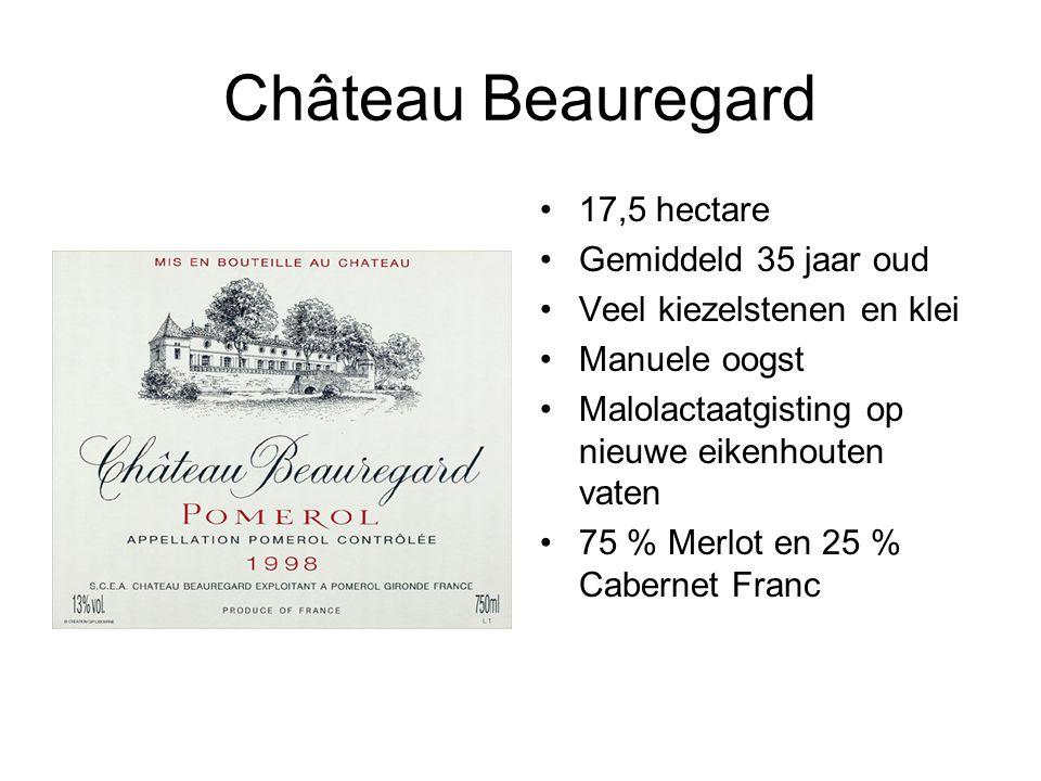 Château Beauregard 17,5 hectare Gemiddeld 35 jaar oud Veel kiezelstenen en klei Manuele oogst Malolactaatgisting op nieuwe eikenhouten vaten 75 % Merlot en 25 % Cabernet Franc