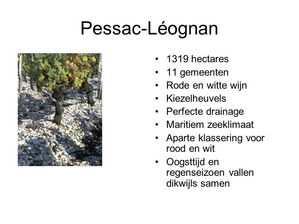 Pessac-Léognan 1319 hectares 11 gemeenten Rode en witte wijn Kiezelheuvels Perfecte drainage Maritiem zeeklimaat Aparte klassering voor rood en wit Oogsttijd en regenseizoen vallen dikwijls samen