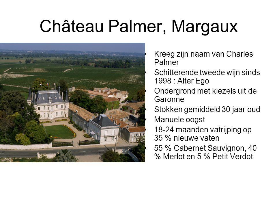 Château Palmer, Margaux Kreeg zijn naam van Charles Palmer Schitterende tweede wijn sinds 1998 : Alter Ego Ondergrond met kiezels uit de Garonne Stokken gemiddeld 30 jaar oud Manuele oogst 18-24 maanden vatrijping op 35 % nieuwe vaten 55 % Cabernet Sauvignon, 40 % Merlot en 5 % Petit Verdot