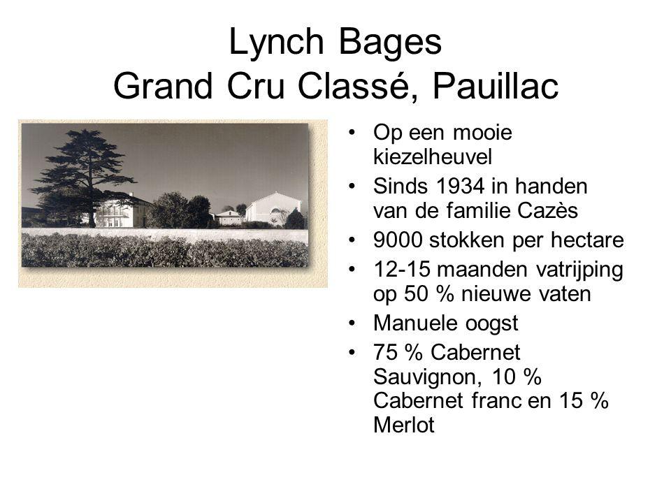 Lynch Bages Grand Cru Classé, Pauillac Op een mooie kiezelheuvel Sinds 1934 in handen van de familie Cazès 9000 stokken per hectare 12-15 maanden vatrijping op 50 % nieuwe vaten Manuele oogst 75 % Cabernet Sauvignon, 10 % Cabernet franc en 15 % Merlot