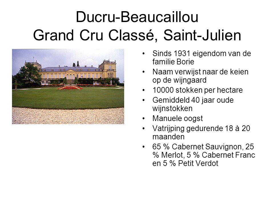 Ducru-Beaucaillou Grand Cru Classé, Saint-Julien Sinds 1931 eigendom van de familie Borie Naam verwijst naar de keien op de wijngaard 10000 stokken per hectare Gemiddeld 40 jaar oude wijnstokken Manuele oogst Vatrijping gedurende 18 à 20 maanden 65 % Cabernet Sauvignon, 25 % Merlot, 5 % Cabernet Franc en 5 % Petit Verdot