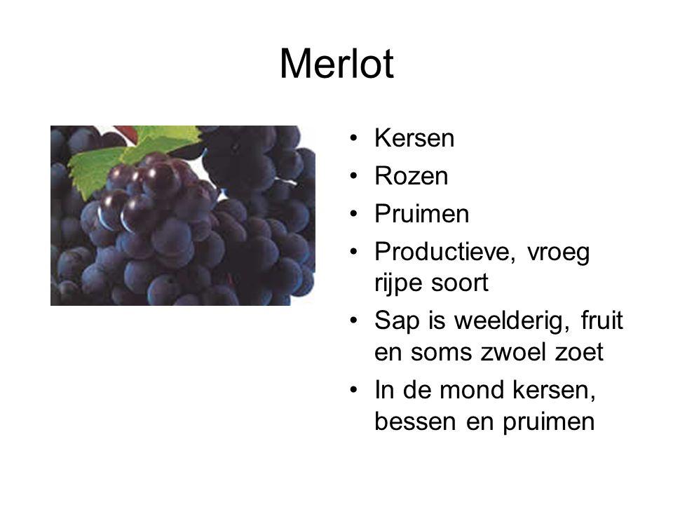 Merlot Kersen Rozen Pruimen Productieve, vroeg rijpe soort Sap is weelderig, fruit en soms zwoel zoet In de mond kersen, bessen en pruimen