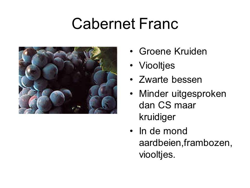 Cabernet Franc Groene Kruiden Viooltjes Zwarte bessen Minder uitgesproken dan CS maar kruidiger In de mond aardbeien,frambozen, viooltjes.