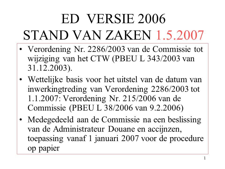 1 ED VERSIE 2006 STAND VAN ZAKEN 1.5.2007 Verordening Nr. 2286/2003 van de Commissie tot wijziging van het CTW (PBEU L 343/2003 van 31.12.2003). Wette