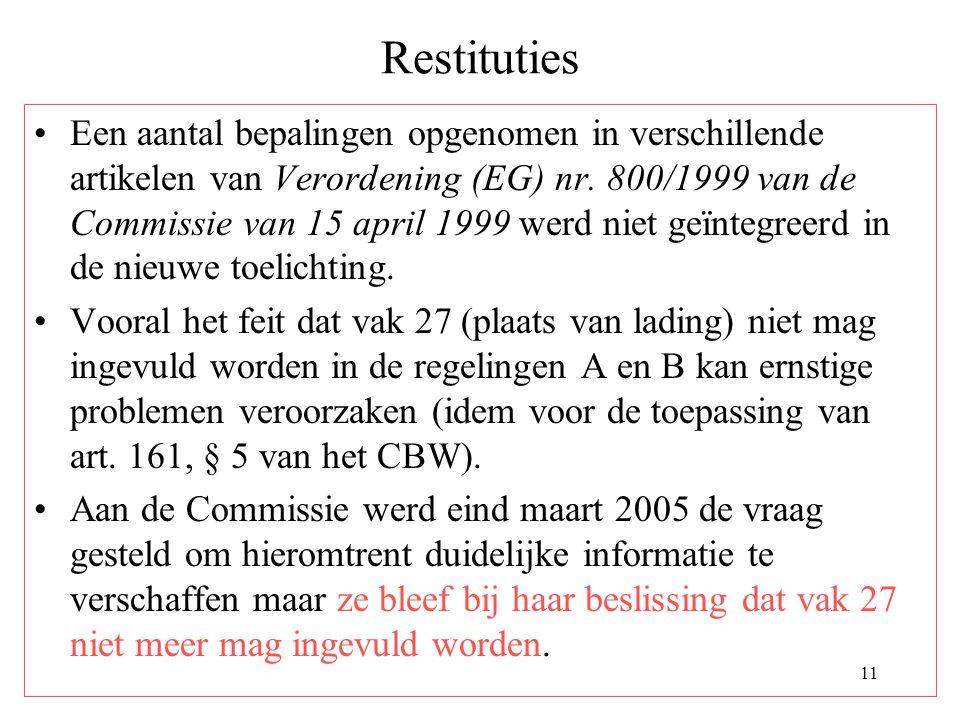 11 Restituties Een aantal bepalingen opgenomen in verschillende artikelen van Verordening (EG) nr. 800/1999 van de Commissie van 15 april 1999 werd ni