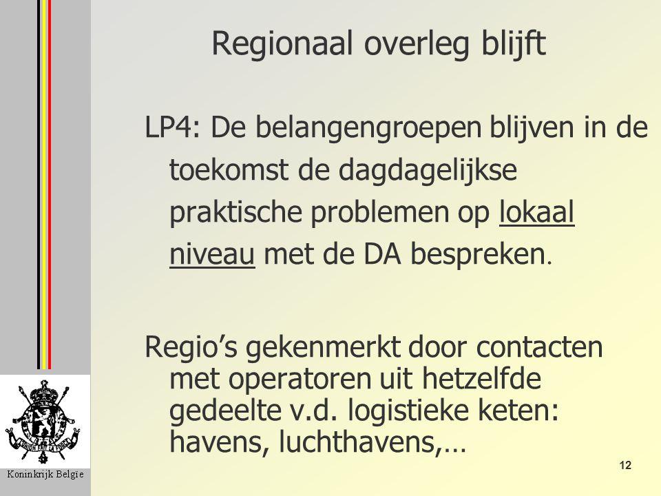 12 Regionaal overleg blijft LP4: De belangengroepen blijven in de toekomst de dagdagelijkse praktische problemen op lokaal niveau met de DA bespreken.