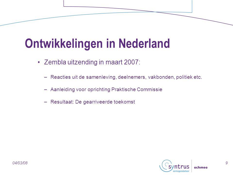904/03/08 Ontwikkelingen in Nederland Zembla uitzending in maart 2007: –Reacties uit de samenleving, deelnemers, vakbonden, politiek etc. –Aanleiding