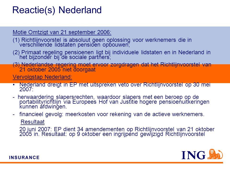 Do not put content on the brand signature area Reactie(s) Nederland Motie Omtzigt van 21 september 2006: (1) Richtlijnvoorstel is absoluut geen oplossing voor werknemers die in verschillende lidstaten pensioen opbouwen; (2) Primaat regeling pensioenen ligt bij individuele lidstaten en in Nederland in het bijzonder bij de sociale partners; (3) Nederlandse regering moet ervoor zorgdragen dat het Richtlijnvoorstel van 21 oktober 2005 niet doorgaat Vervolgstap Nederland: Nederland dreigt in EP met uitspreken veto over Richtlijnvoorstel op 30 mei 2007: - herwaardering slapersrechten, waardoor slapers met een beroep op de portabilityrichtlijn via Europees Hof van Justitie hogere pensioenuitkeringen kunnen afdwingen.