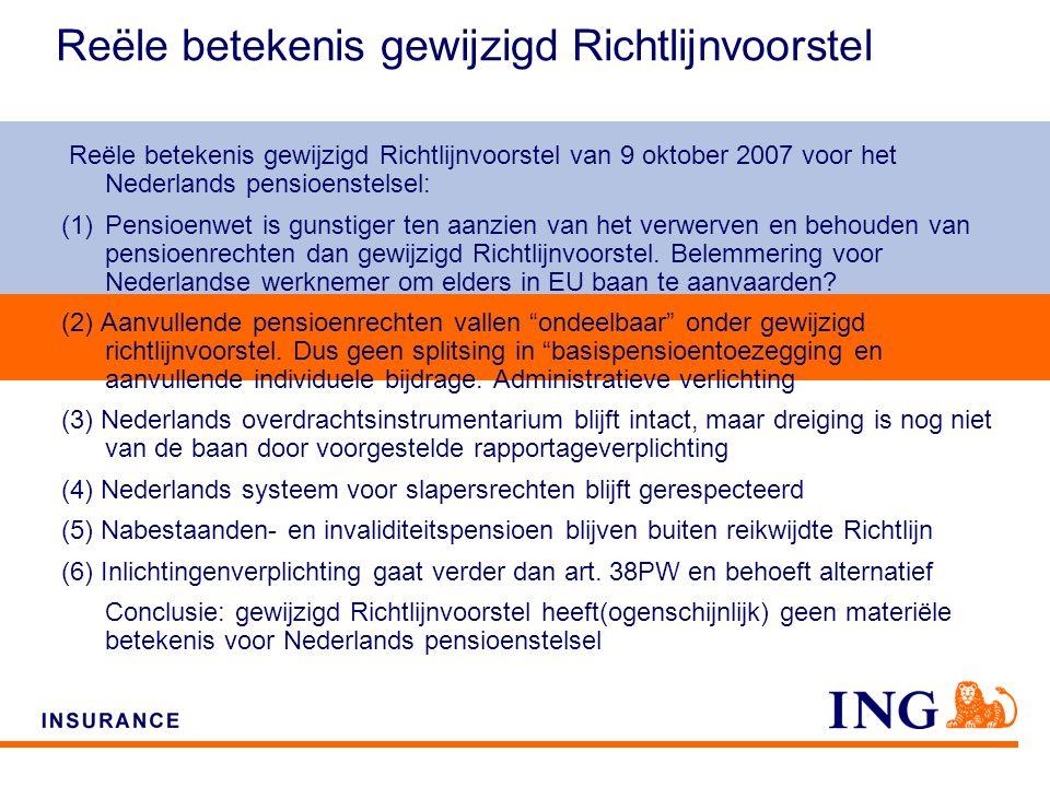 Do not put content on the brand signature area Reële betekenis gewijzigd Richtlijnvoorstel Reële betekenis gewijzigd Richtlijnvoorstel van 9 oktober 2007 voor het Nederlands pensioenstelsel: (1)Pensioenwet is gunstiger ten aanzien van het verwerven en behouden van pensioenrechten dan gewijzigd Richtlijnvoorstel.