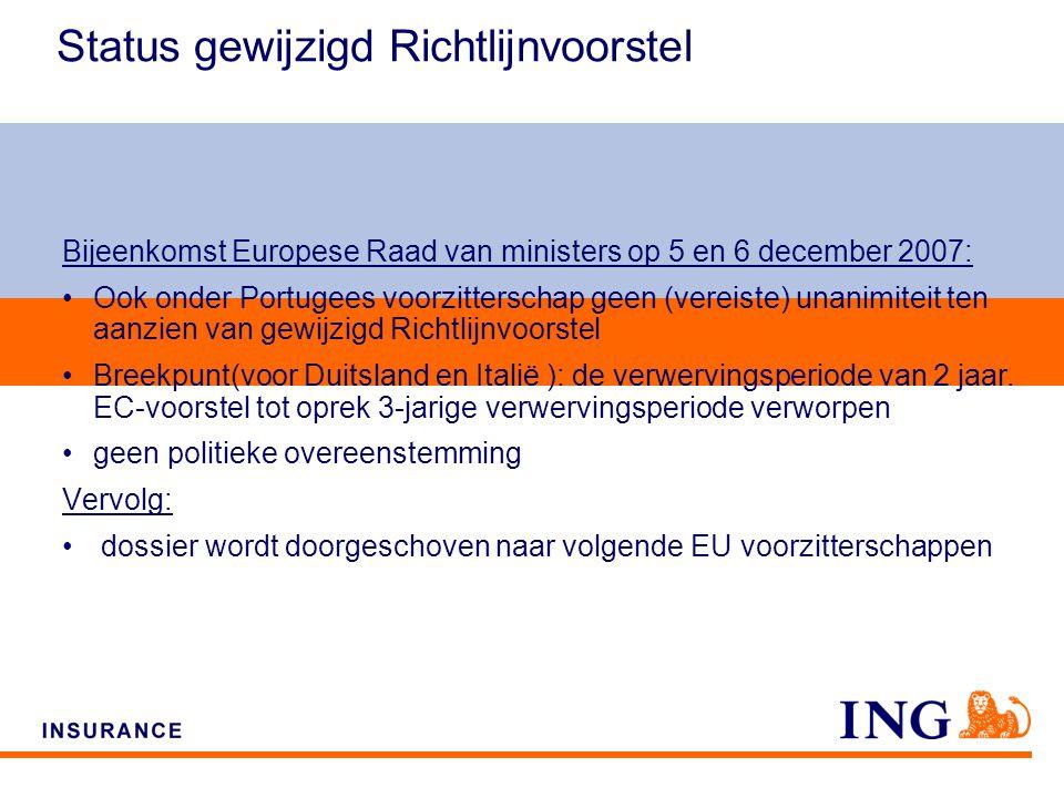 Do not put content on the brand signature area Status gewijzigd Richtlijnvoorstel Bijeenkomst Europese Raad van ministers op 5 en 6 december 2007: Ook onder Portugees voorzitterschap geen (vereiste) unanimiteit ten aanzien van gewijzigd Richtlijnvoorstel Breekpunt(voor Duitsland en Italië ): de verwervingsperiode van 2 jaar.