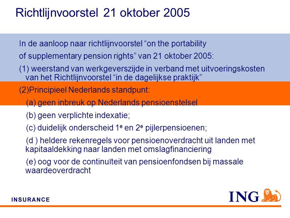 Do not put content on the brand signature area Richtlijnvoorstel 21 oktober 2005 In de aanloop naar richtlijnvoorstel on the portability of supplementary pension rights van 21 oktober 2005: (1) weerstand van werkgeverszijde in verband met uitvoeringskosten van het Richtlijnvoorstel in de dagelijkse praktijk (2)Principieel Nederlands standpunt: (a) geen inbreuk op Nederlands pensioenstelsel (b) geen verplichte indexatie; (c) duidelijk onderscheid 1 e en 2 e pijlerpensioenen; (d ) heldere rekenregels voor pensioenoverdracht uit landen met kapitaaldekking naar landen met omslagfinanciering (e) oog voor de continuïteit van pensioenfondsen bij massale waardeoverdracht