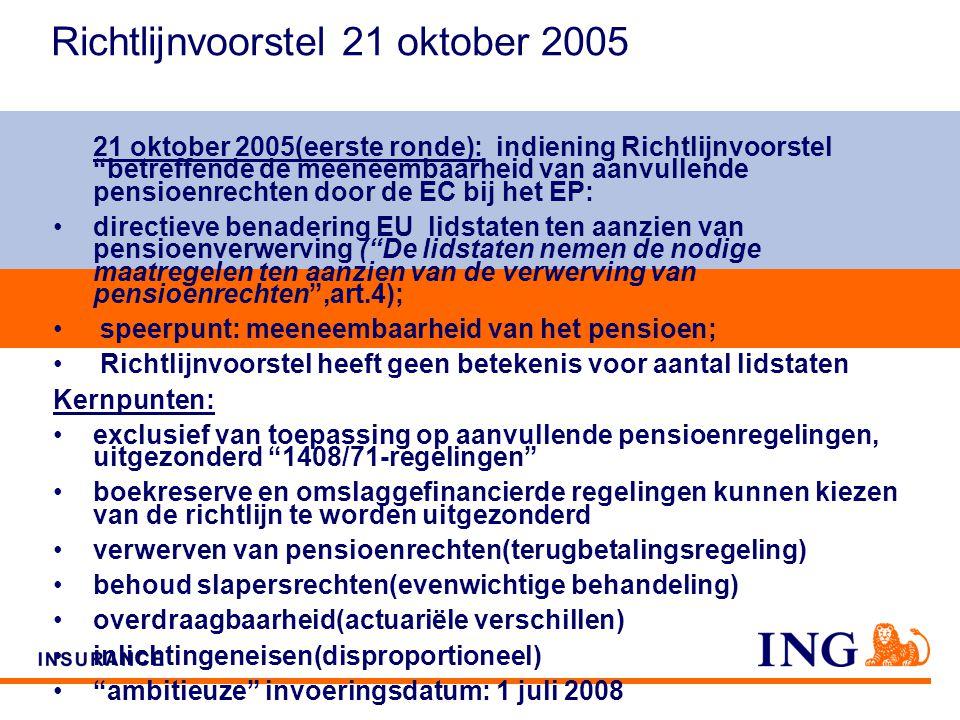 Do not put content on the brand signature area Richtlijnvoorstel 21 oktober 2005 21 oktober 2005(eerste ronde): indiening Richtlijnvoorstel betreffende de meeneembaarheid van aanvullende pensioenrechten door de EC bij het EP: directieve benadering EU lidstaten ten aanzien van pensioenverwerving ( De lidstaten nemen de nodige maatregelen ten aanzien van de verwerving van pensioenrechten ,art.4); speerpunt: meeneembaarheid van het pensioen; Richtlijnvoorstel heeft geen betekenis voor aantal lidstaten Kernpunten: exclusief van toepassing op aanvullende pensioenregelingen, uitgezonderd 1408/71-regelingen boekreserve en omslaggefinancierde regelingen kunnen kiezen van de richtlijn te worden uitgezonderd verwerven van pensioenrechten(terugbetalingsregeling) behoud slapersrechten(evenwichtige behandeling) overdraagbaarheid(actuariële verschillen) inlichtingeneisen(disproportioneel) ambitieuze invoeringsdatum: 1 juli 2008