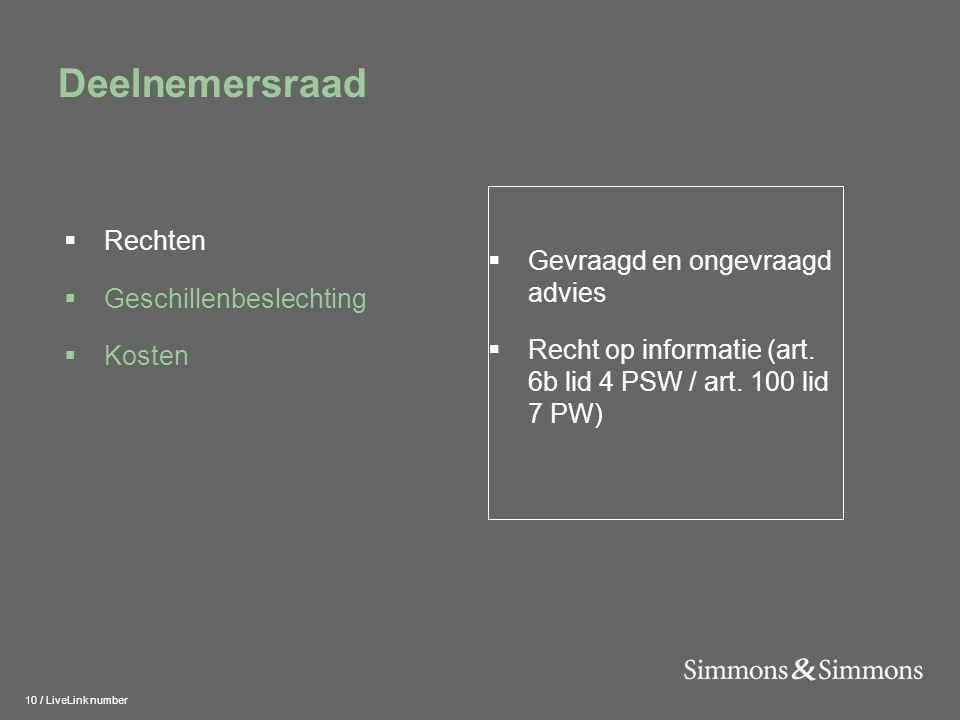 10 / LiveLink number Deelnemersraad  Gevraagd en ongevraagd advies  Recht op informatie (art. 6b lid 4 PSW / art. 100 lid 7 PW)  Rechten  Geschill