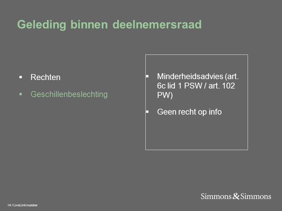 14 / LiveLink number Geleding binnen deelnemersraad  Minderheidsadvies (art. 6c lid 1 PSW / art. 102 PW)  Geen recht op info  Rechten  Geschillenb