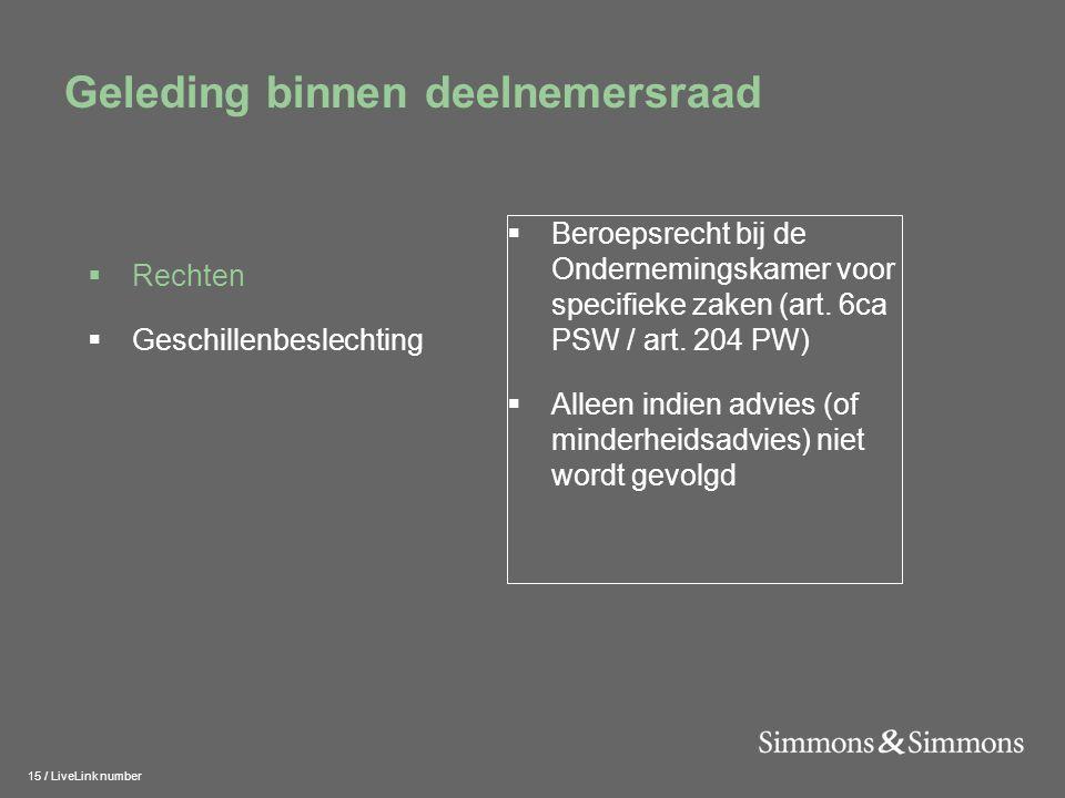 15 / LiveLink number Geleding binnen deelnemersraad  Beroepsrecht bij de Ondernemingskamer voor specifieke zaken (art.