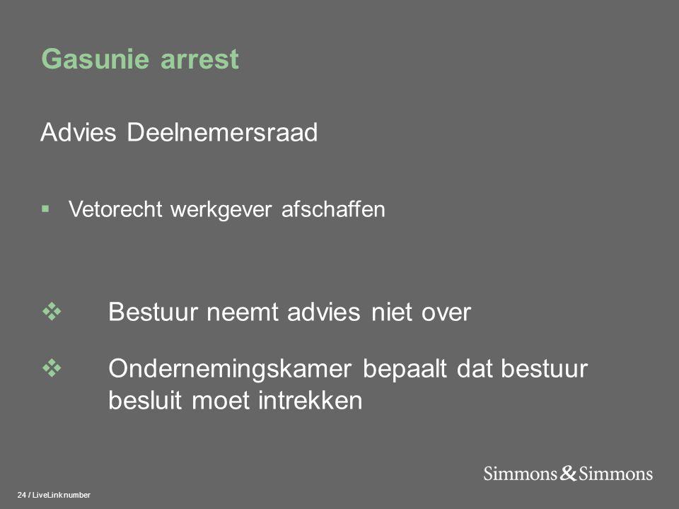 24 / LiveLink number Gasunie arrest Advies Deelnemersraad  Vetorecht werkgever afschaffen  Bestuur neemt advies niet over  Ondernemingskamer bepaal