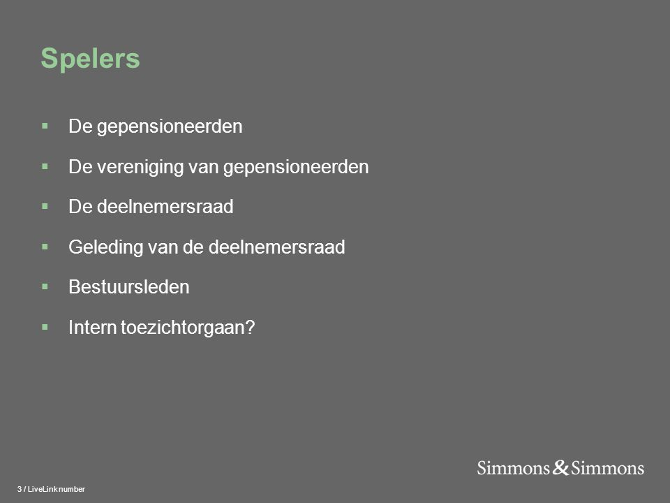 14 / LiveLink number Geleding binnen deelnemersraad  Minderheidsadvies (art.