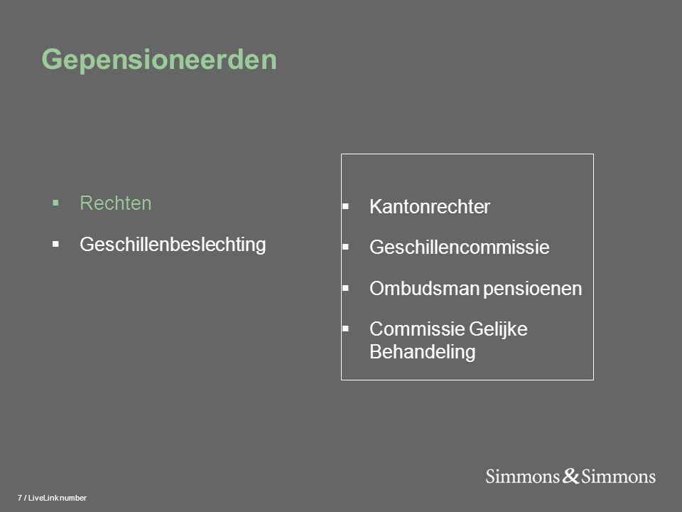 7 / LiveLink number Gepensioneerden  Kantonrechter  Geschillencommissie  Ombudsman pensioenen  Commissie Gelijke Behandeling  Rechten  Geschillenbeslechting