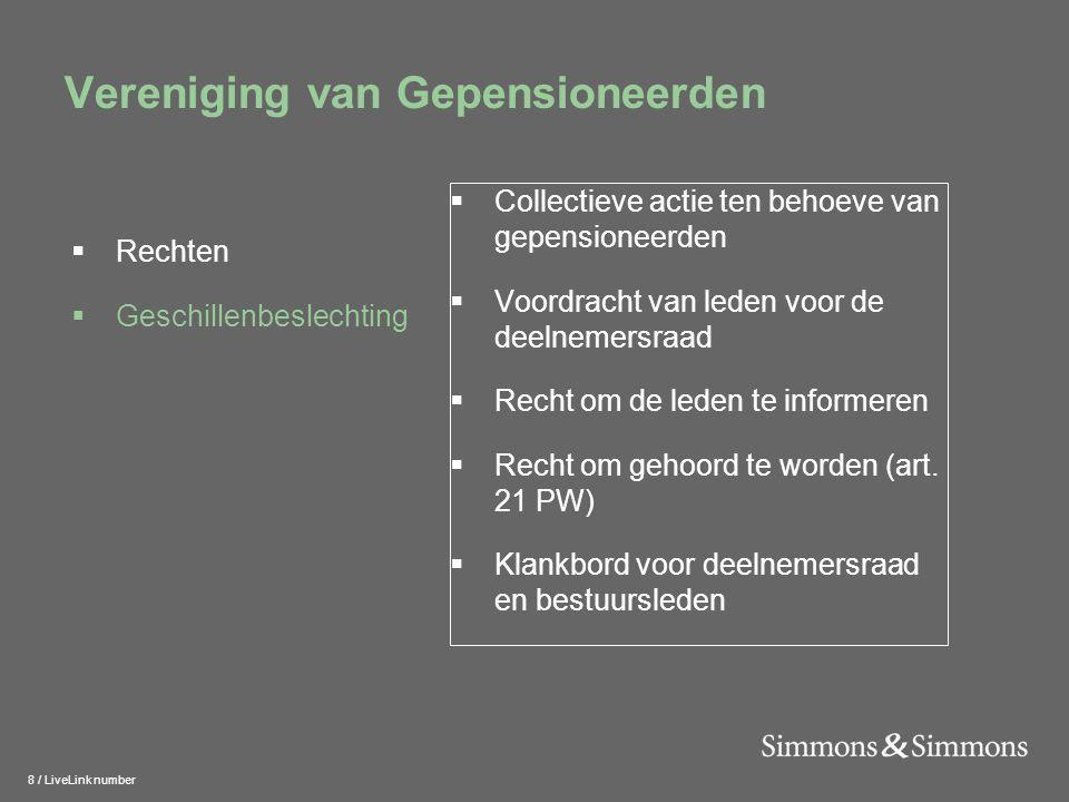 8 / LiveLink number Vereniging van Gepensioneerden  Collectieve actie ten behoeve van gepensioneerden  Voordracht van leden voor de deelnemersraad  Recht om de leden te informeren  Recht om gehoord te worden (art.